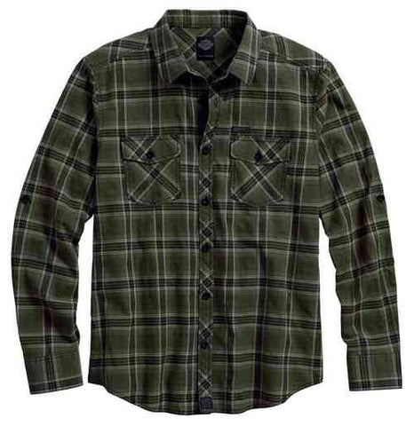 96650-17VM   H-D® Men's Roll-Tab Long Sleeve Plaid Shirt, Green