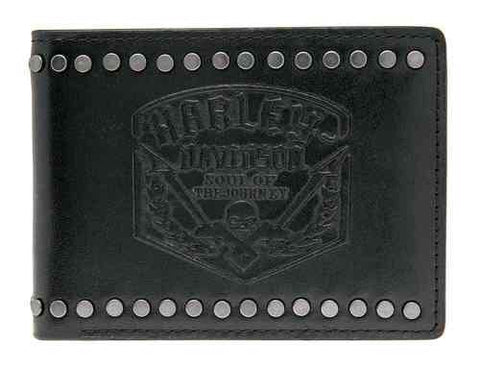 HDMWA10863-BLK🔹 Harley-Davidson® Mens Soul Journey Debossed Bi-Fold Leather Wallet