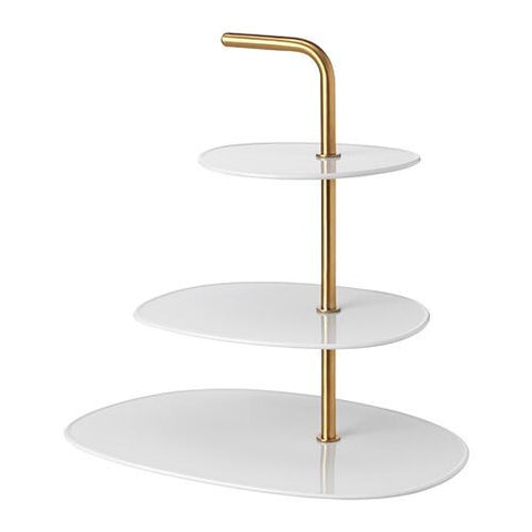 90357788 - FORADLA Serving stand, three tiers, white, brass