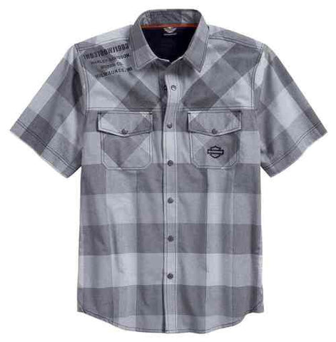 96602-17VM H-D Men's Performance Vented Plaid Short Sleeve Shirt