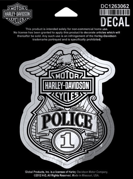 DC1263062  Harley-Davidson® Silver Bar & Shield® #1 Police Badge Decal | Small