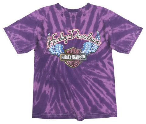 1520731 Little Girls' Glitter Wings Swirl Tie-Dye Tee, Purple