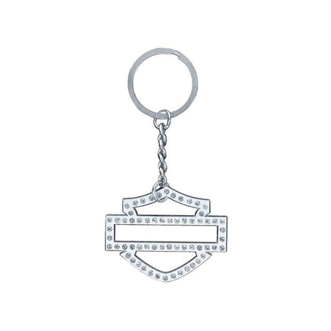 KY104806 HD® Womens Embellished Blank Bar & Shield Key Chain, Silver