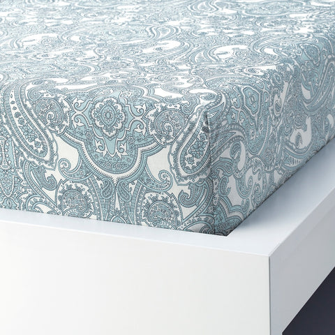 JATTEVALLMO Fitted sheet, white, blue, 180x200 cm. 40409997