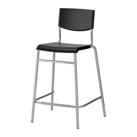 STIG Bar stool with backrest, black, silver-colour. 10161525