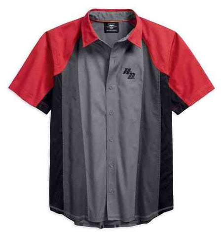 96179-18VM  H-D® Men's Performance Vented Colorblock Shirt, Gray