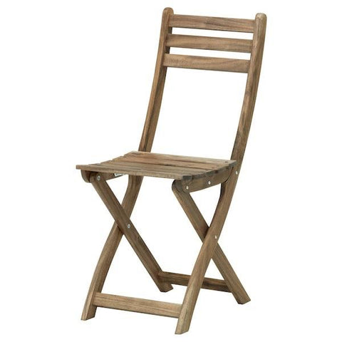 70240030 - ASKHOLMEN Chair, outdoor, grey-brown foldable light brown light brown stained grey-brown stained