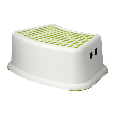 FORSIKTIG Children's stool, white, green. 40248419