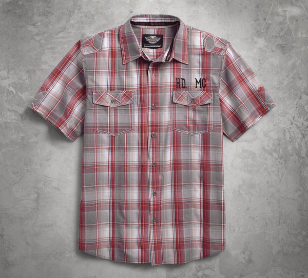 96154-16VM H-D Men's HDMC Short Sleeve Plaid Woven Shirt, Red