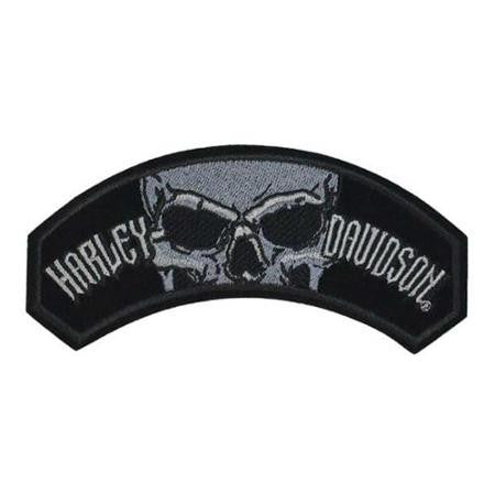 EM1298803 Harley-Davidson Curved Devour Skull Patch Embroidered Emblem, Med Size