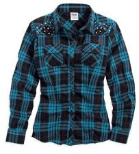96296-15VW Harley-Davidson® Womens Studded & Rhinestone Embellishments Blue Plaid LS Woven Shirt