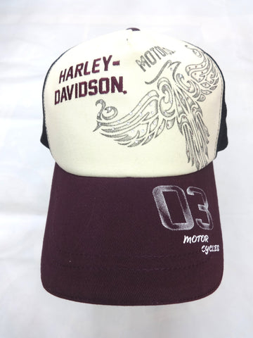 97609-15VW H-D Womens Eagle Colorblock White Cotton Trucker Cap