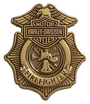 "P1265261 HD Firefighter Antique Gold lapel pin 7/8""x1"""