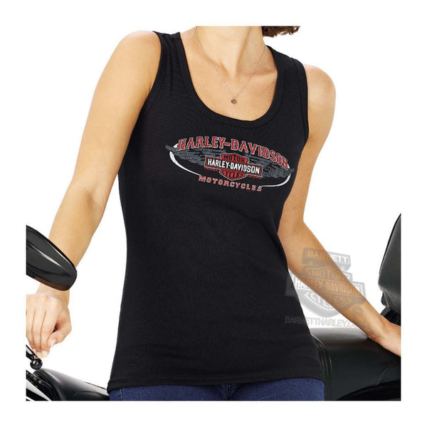 R000495007 Harley-Davidson® Womens Westbound Winged Trademark B&S Black Sleeveless Tank
