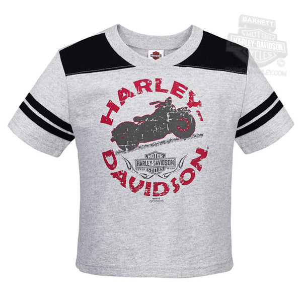 R0015863 Harley-Davidson® Boys Toddler Old Shadow Motorcycle Football Grey Short Sleeve T-Shirt