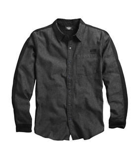 96025-15VM H-D Men's Black Label Tonal Colorblock L/S Shirt