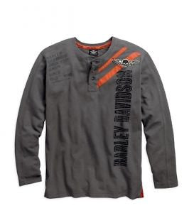 96426-15VM H-D Mens Long Sleeve Henley Grey T-Shirt