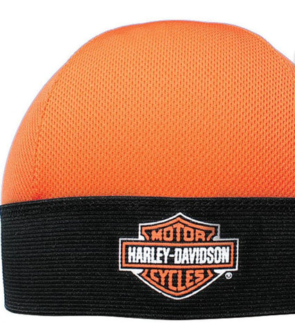 SK30266 Harley-Davidson® Mens B&S Perforated Orange Polyester Skull Cap