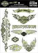 TT1234 Harley-Davidson® Temporary Tattoo Sheet Blaze Assortment