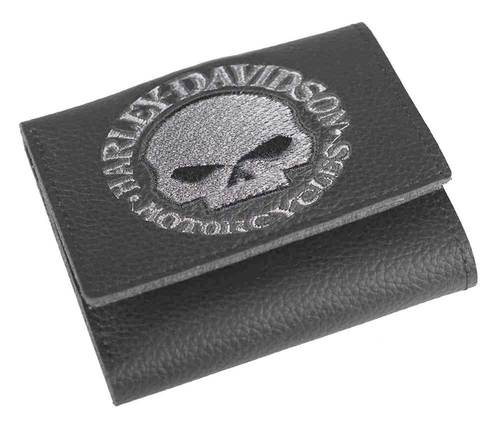 798100 H-D Men's Embroidered Willie G Skull Tri-Fold Wallet