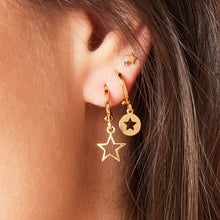 Load image into Gallery viewer, Gold Star Huggie Earrings