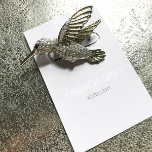 Silver Kingfisher Brooch