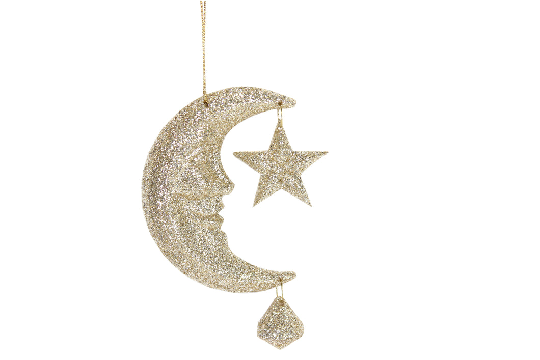 Glitter Moon and Star Decoration
