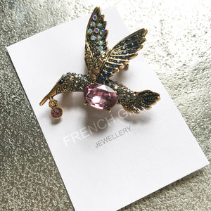 Purple Kingfisher Brooch