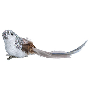 Silver Glitter Bird Decoration