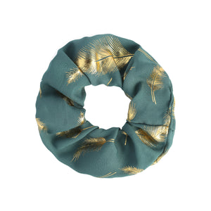 Gold Feather Scrunchie in Blue
