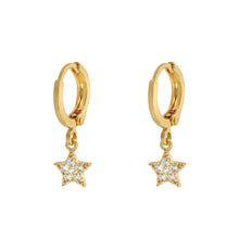 Load image into Gallery viewer, Tiny Gold Star Huggie Earrings