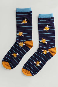 Ladies Bamboo Blue Bee Socks