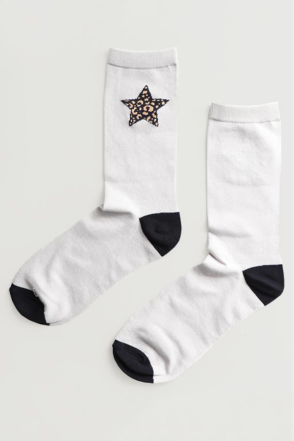 Ladies Bamboo Leopard Print Star Socks