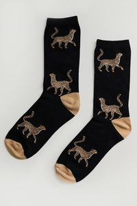Ladies Bamboo Black Leopard Socks