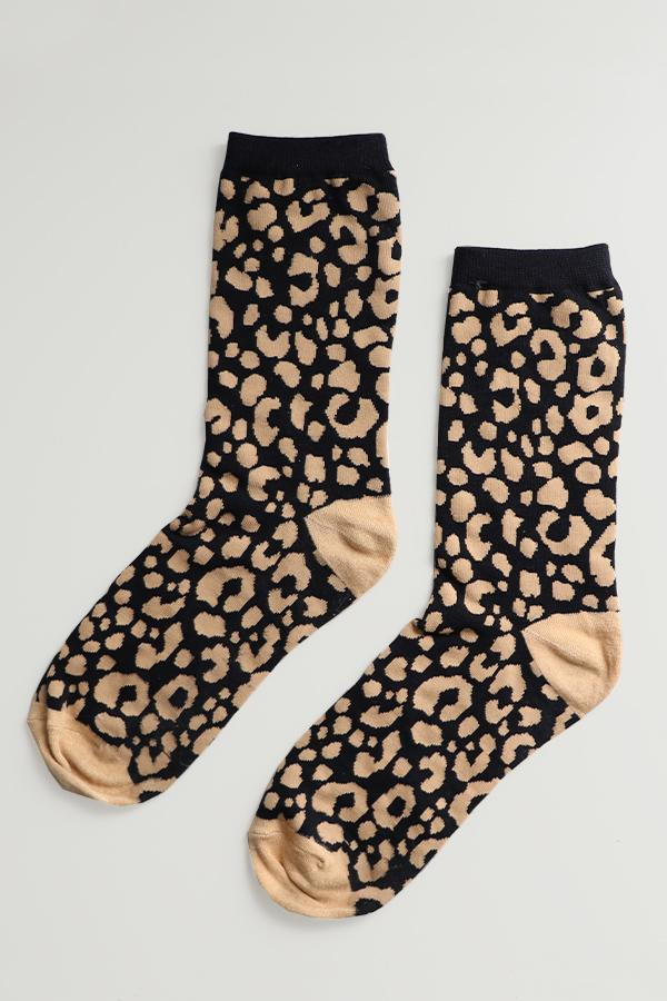 Ladies Bamboo Neutral Leopard Socks