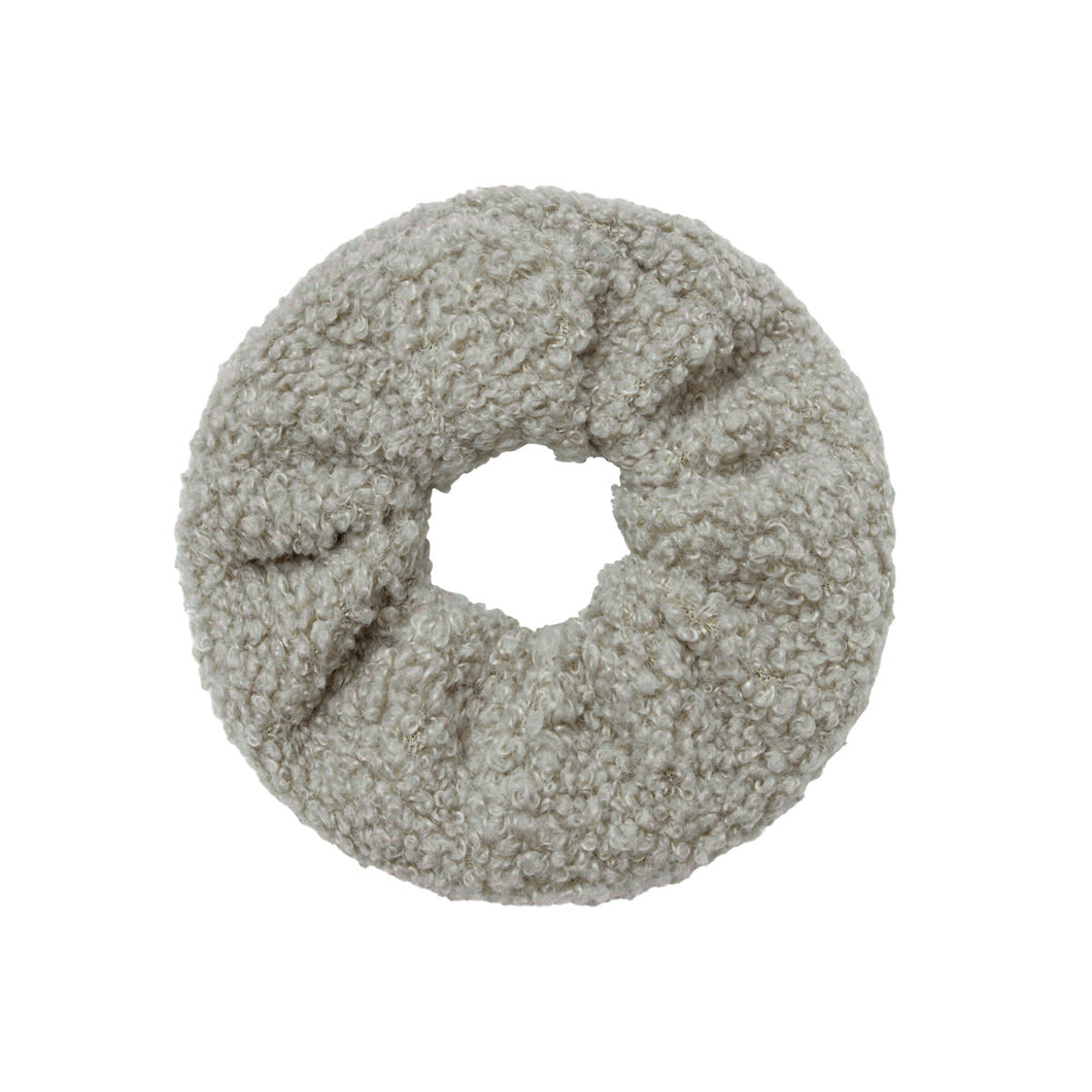 Soft Teddy Scrunchie in Light Grey