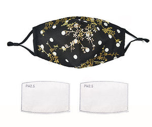 Black spot / Gold Floral Face Mask