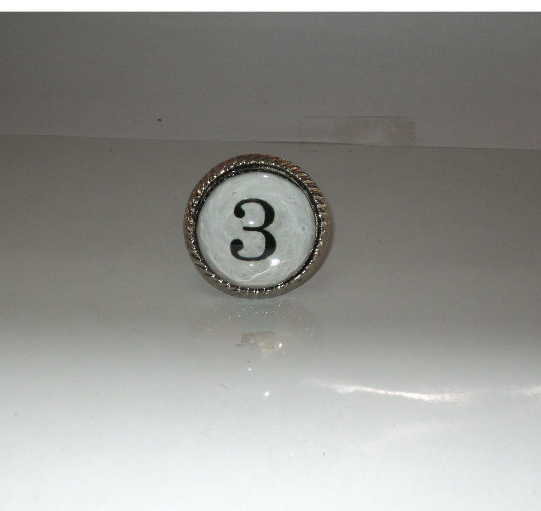 Number 3 Drawer Knob