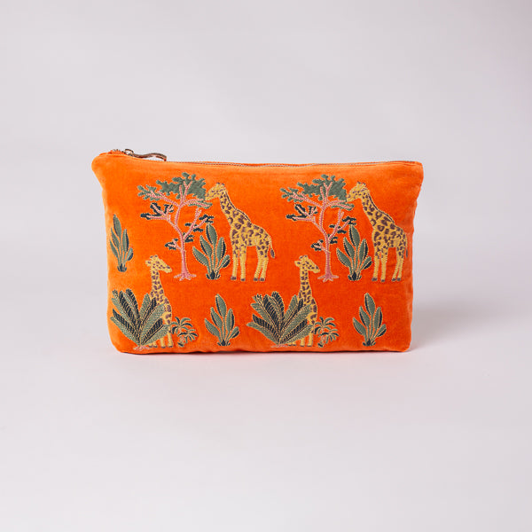 Giraffe Orange Velvet Everyday Pouch