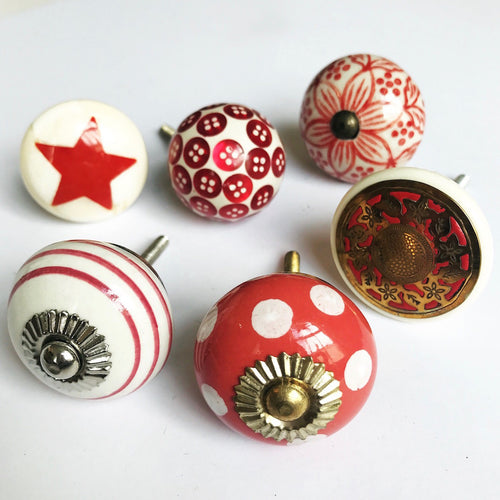 Set of Drawer Knobs in Reds