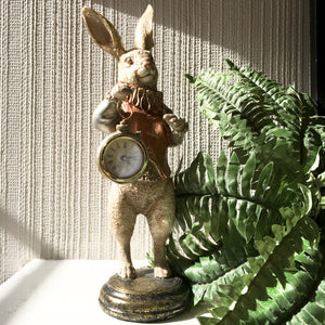 White Rabbit Clock Figure - Gold
