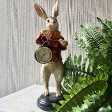 Load image into Gallery viewer, White Rabbit Clock Figure - Red