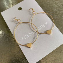 Load image into Gallery viewer, Drop Hoop with Heart Charm Earrings