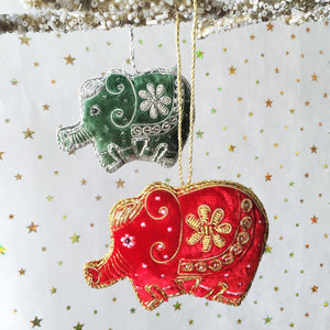 Luxurious Velvet Elephant Decoration