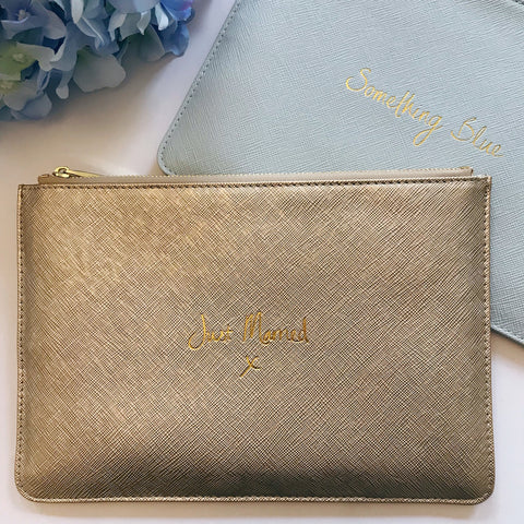 Just Married / Something Blue Slogan Clutch Bag
