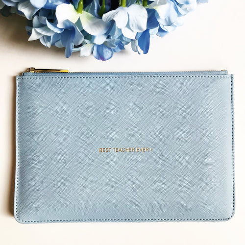 Best Teacher Slogan Clutch Bag