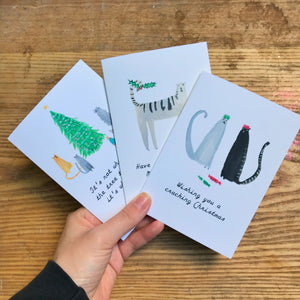 Cat Christmas Card Set