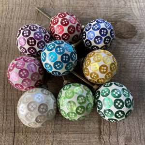 SALE Set of 9 Assorted Button Drawer Knobs