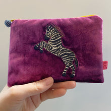 Load image into Gallery viewer, Purple Dancing Zebra Purse