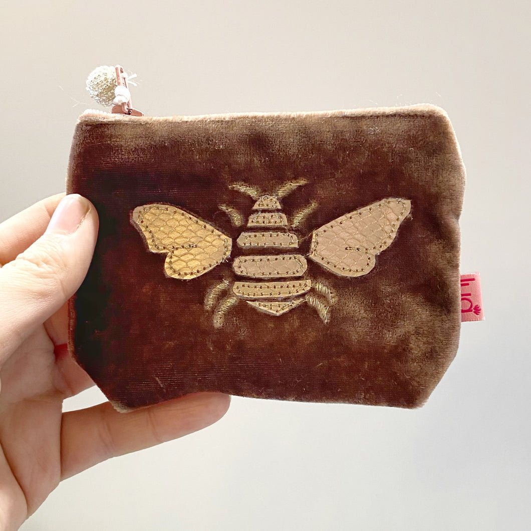 Mink Bee Velvet Mini Purse